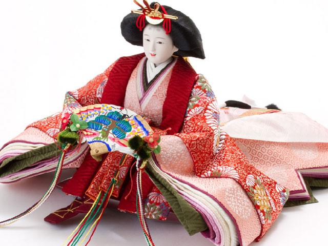 雛人形・京九番親王五寸官女付焼杉三段飾りセット No3021女雛の衣装とお顔
