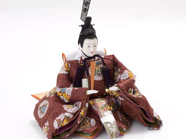 雛人形・京九番親王五寸官女付焼杉三段飾りセット No3021男雛の衣装とお顔