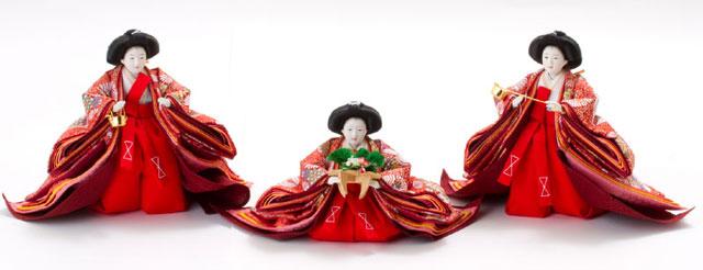 雛人形・京九番親王五寸官女付焼杉三段飾りセット No3021官女の衣装とお顔
