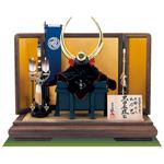 五月人形・福岡市博物館所蔵 黒漆塗大水牛脇立桃形模写兜飾りNo3193