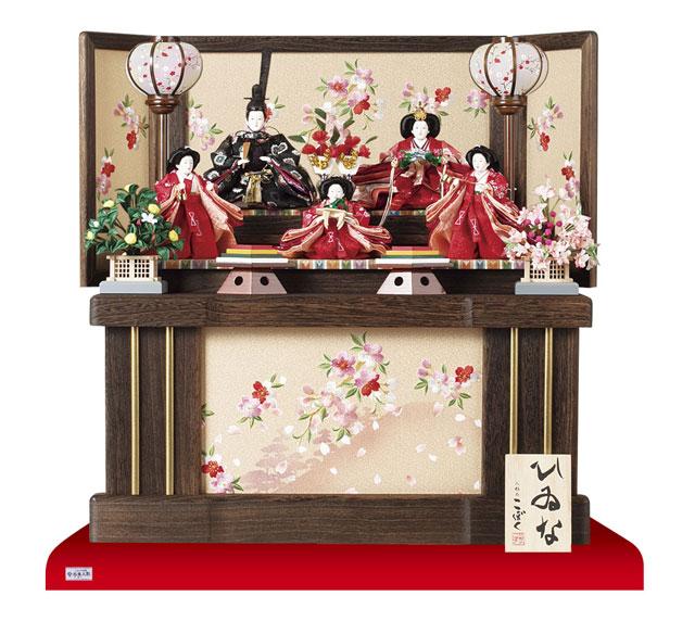 収納飾りの雛人形 五人飾り No1019