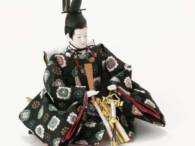 京小十番親王柳官女付焼桐収納飾りNo1019  男雛