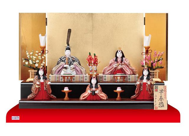 木目込人形 真多呂作 親王・官女五人飾り早春雛 No2913