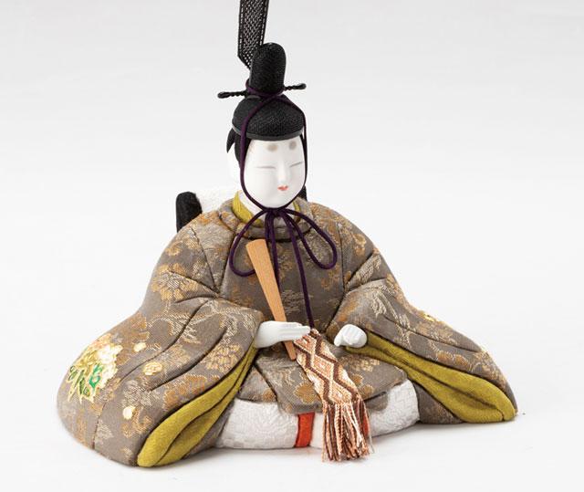 木目込人形 真多呂作 親王平台飾り 箔押清香雛 No902720 男雛の衣装とお顔