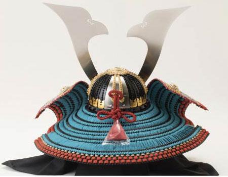五月人形・厳島神社所蔵  国宝模写浅葱綾威収納台兜飾りNo310-E