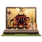 五月人形・青森 櫛引八幡宮所蔵 国宝模写 菊一文字金物赤糸威大鎧 兜飾り No311B
