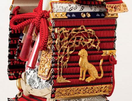 春日大社所蔵 国宝模写 『竹に虎雀』金物赤糸縅大鎧飾り  No321-A