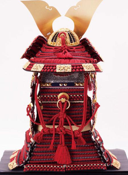 五月人形・春日大社所蔵 国宝模写 『竹に虎雀』金物赤糸縅大鎧飾り  No321-A