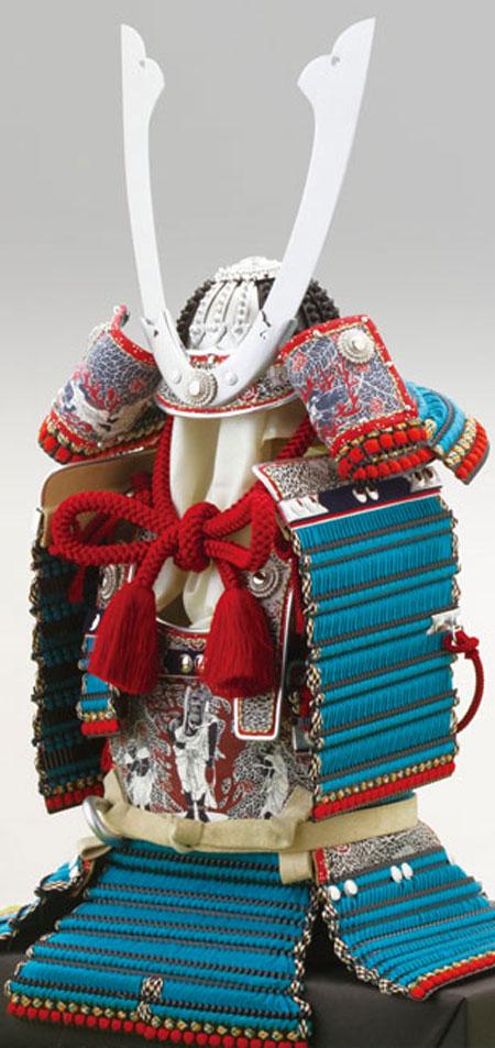 広島 厳島神社所蔵  国宝模写浅葱綾威鎧飾りNo321-E
