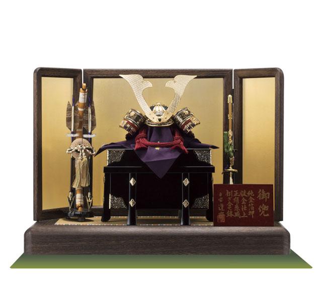 五月人形・総裏白檀塗り仕上げ赤糸威兜焼桐平台飾No3312Bセット