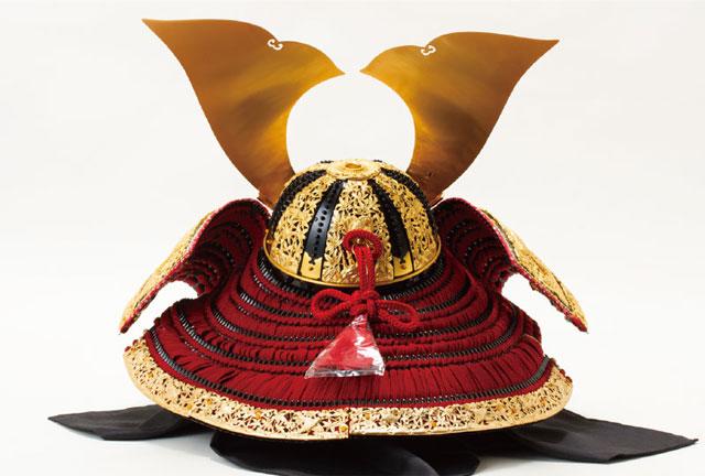 春日大社所蔵 国宝模写 『竹に虎雀』金物赤糸威収納台兜飾りNo310-A  兜の背面 竹雀の裾金具