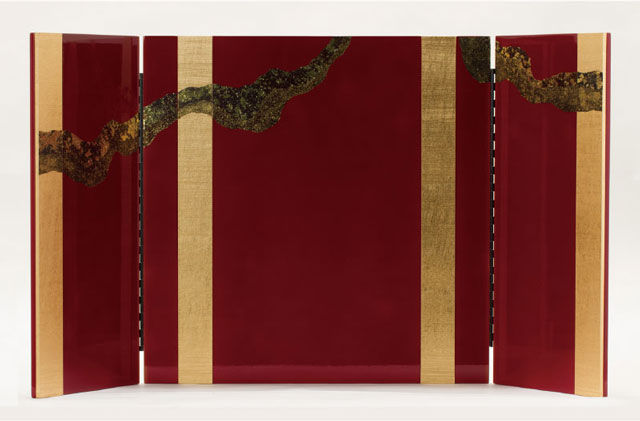 春日大社所蔵 国宝模写 『竹に虎雀』金物赤糸威収納台兜飾りNo310-A 屏風