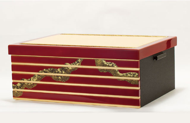 春日大社所蔵 国宝模写 『竹に虎雀』金物赤糸威収納台兜飾りNo310-A 兜の収納箱