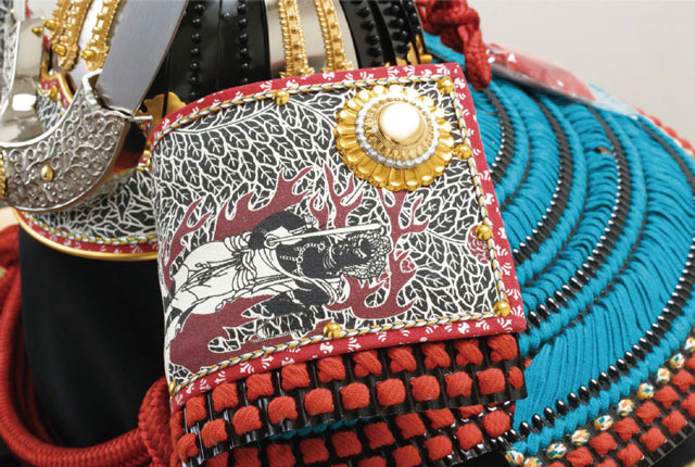 五月人形・厳島神社蔵 国宝『浅葱綾威』模写三分の二 兜飾り No310E 兜の吹き返し