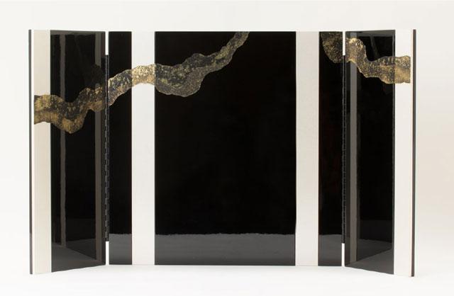 国宝模写鎧兜・厳島神社蔵 国宝『浅葱綾威』模写三分の二 兜飾り No310E 屏風