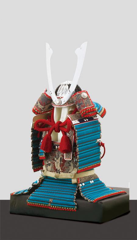 五月人形・広島 厳島神社所蔵  国宝模写浅葱綾威鎧飾り