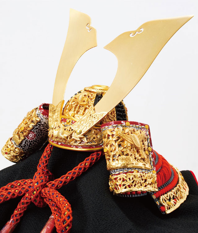 奈良 春日大社所蔵 国宝模写 『竹に虎雀』金物赤糸威 兜飾り No311-A 兜部分