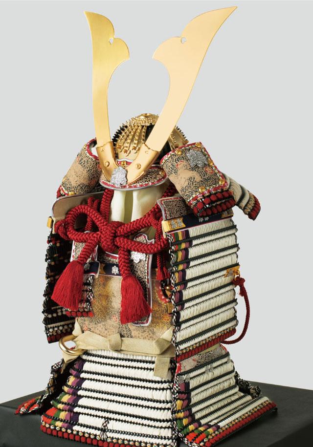 五月人形・青森 櫛引八幡宮所蔵 国宝模写 白糸威褄取 鎧飾り  No321-C