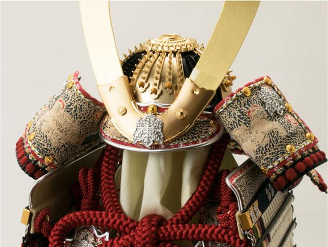 国宝模写鎧兜・青森 櫛引八幡宮所蔵 国宝模写 白糸威褄取 鎧飾り  No321-C 兜