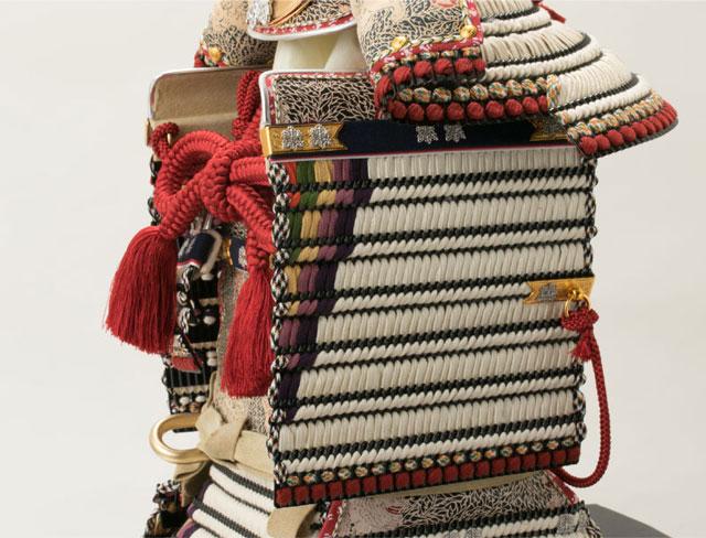 青森 櫛引八幡宮所蔵 国宝模写 白糸威褄取 鎧飾り  No321-C 大袖