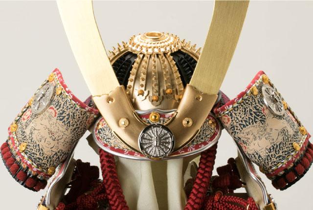 五月人形・大山祇神社所蔵 国宝紫糸威大鎧模写鎧飾りNo321-K 大鎧の兜の部分