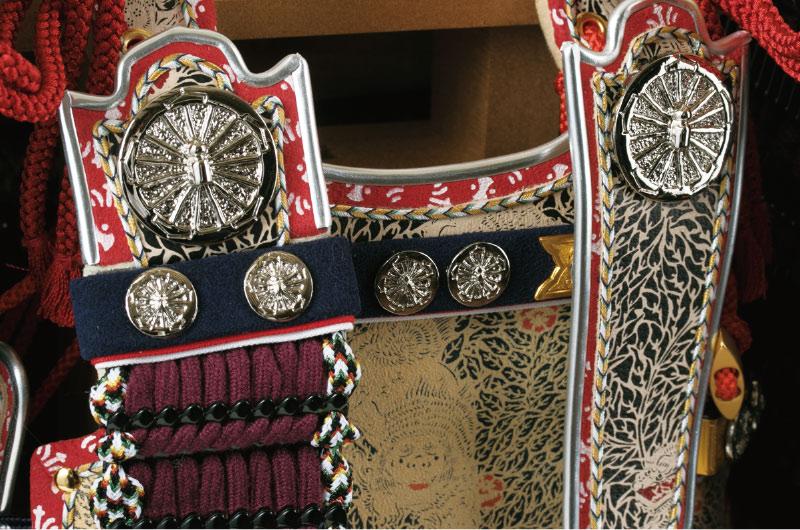 五月人形・大山祇神社所蔵 国宝紫糸威大鎧模写鎧飾りNo321-K 大鎧 栴檀・鳩尾の板