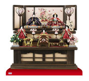 雛人形・雛人形の御案内 焼桐三段京小十番親王柳官女付飾り No2993