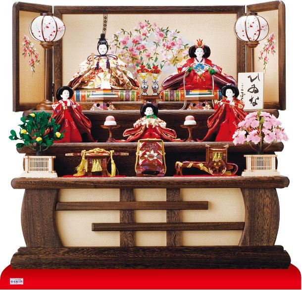 3011 京十番親王芥子官女付 焼桐三段飾り