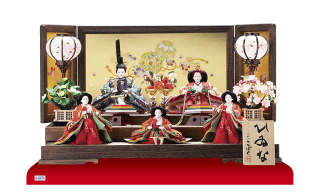 京小十番焼桐平台親王・柳官女付五人飾り  No2995