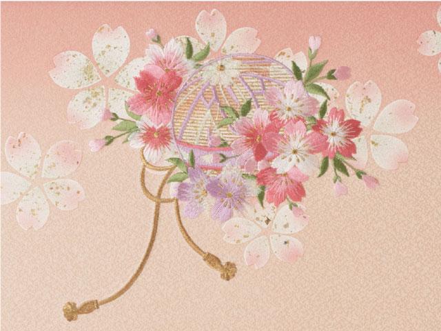 雛人形屏風 毬に桜