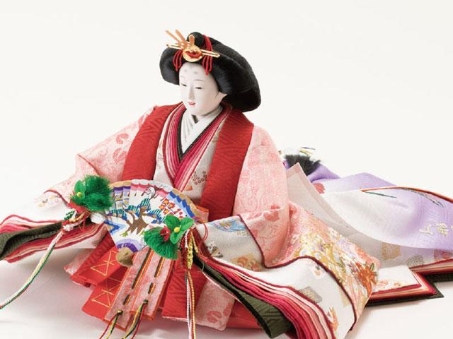 京八番金彩刺繍入り親王焼桐高床台親王飾りNo1032 女雛