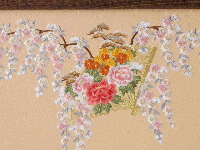 13号ひな屏風 扇面に桜 菊 牡丹