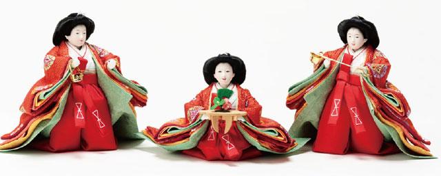 京小十番焼桐平台親王・官女付五人飾りNo1009C 官女