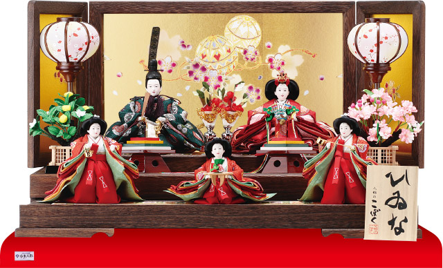 京小十番焼桐平台親王・官女付五人飾りNo1009C