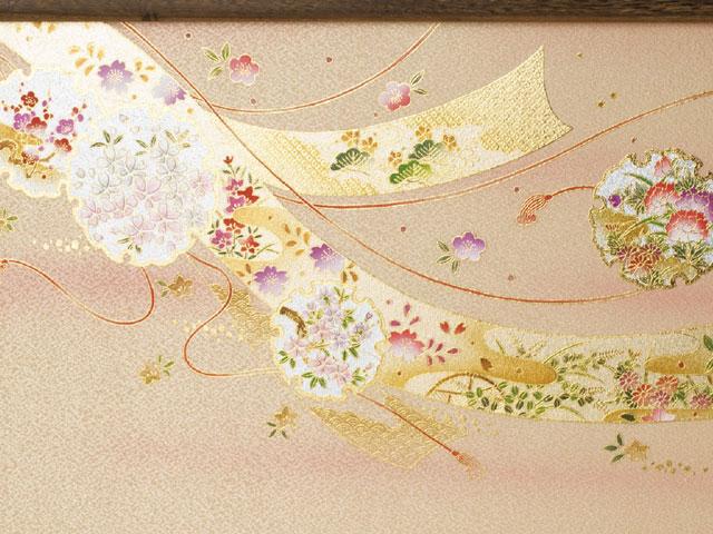 衣装着雛人形 三段飾り No3031B 雪輪に熨斗目の雛屏風