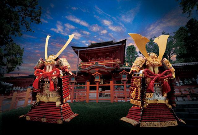 奈良 春日大社 竹雀大鎧模写、梅金物大鎧模写 人気商品