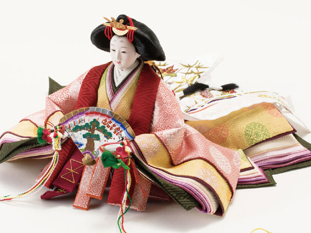 衣装着 京十番親王芥子官女・五人囃子付焼桐三段飾り No3010B 女雛