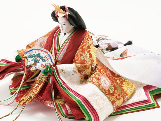 衣装着 京八番親王六寸官女・五人囃子付焼桐三段飾り No3030 女雛