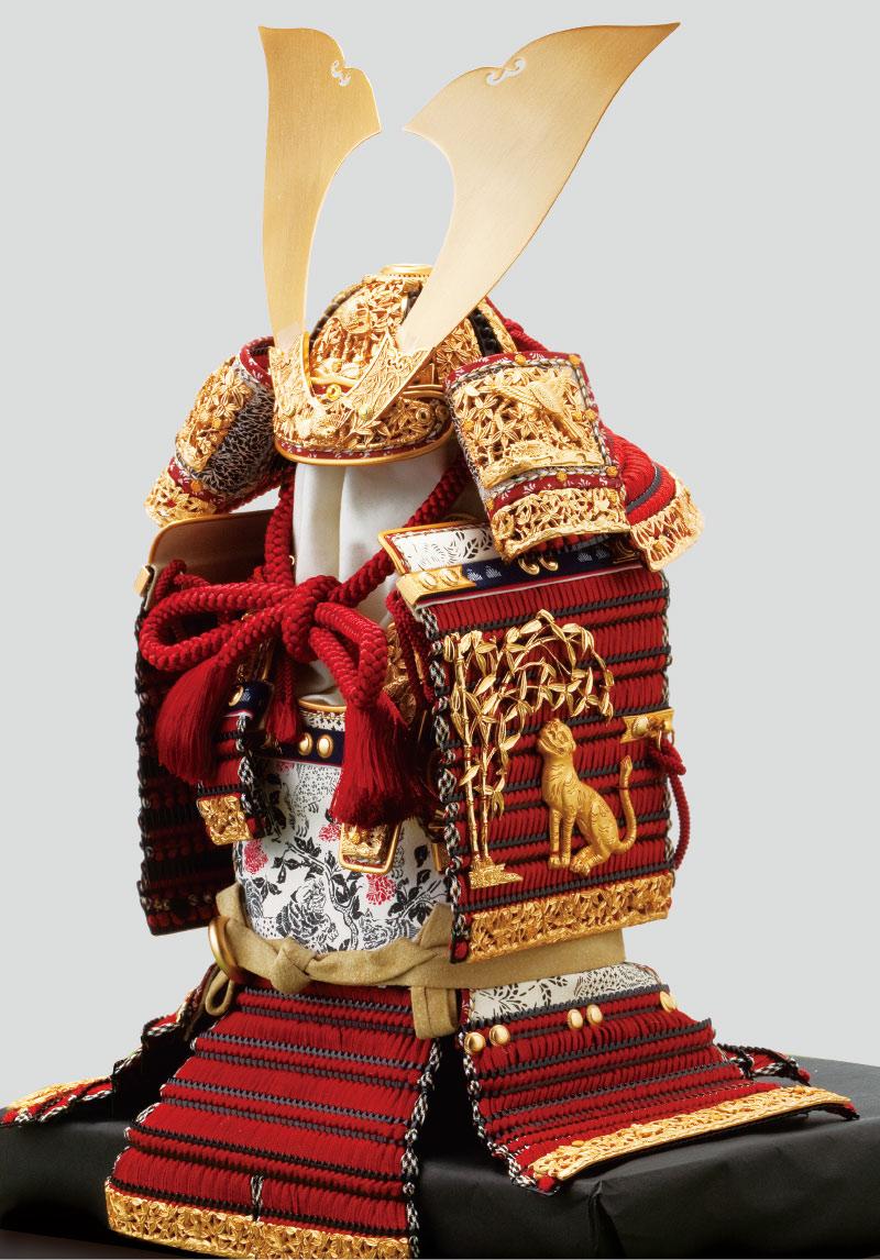 五月人形・奈良 春日大社所蔵 国宝模写 『竹に虎雀』金物赤糸威大鎧飾り