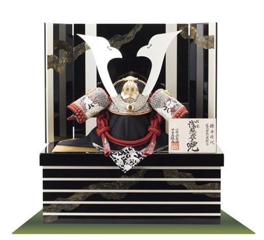国宝 浅葱綾威」広島 厳島神社蔵 鎌倉時代 模写収納飾り台兜飾りセット