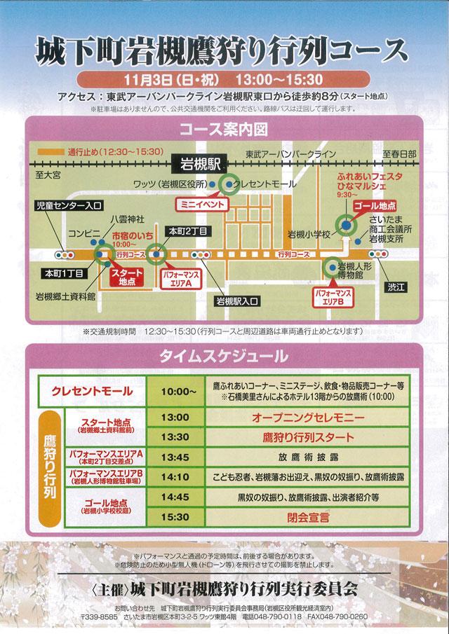 歴史と人形のまち岩槻 鷹狩り行列の詳細コースポスター
