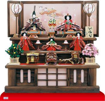 雛人形 衣装着焼杉三段飾り 京九番親王五寸官女付 No3021