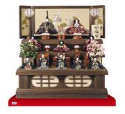 京八番親王六寸官女・五人囃子付焼桐三段飾りNo3030