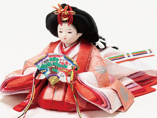 雛人形 衣装着黒塗平台小柳親王飾り No1920 女雛の衣装とお顔
