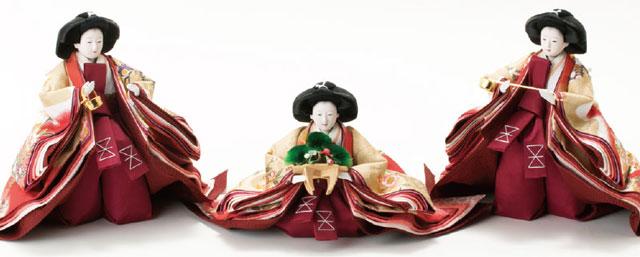 三段飾り・京八番親王六寸8人(官女・五人囃子付)十人揃い焼桐三段飾り№3030 三人官女の衣装とお顔
