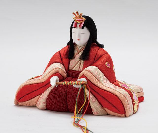 木目込人形 親王飾り  しあわせ金彩 No8709A 女雛の衣装とお顔