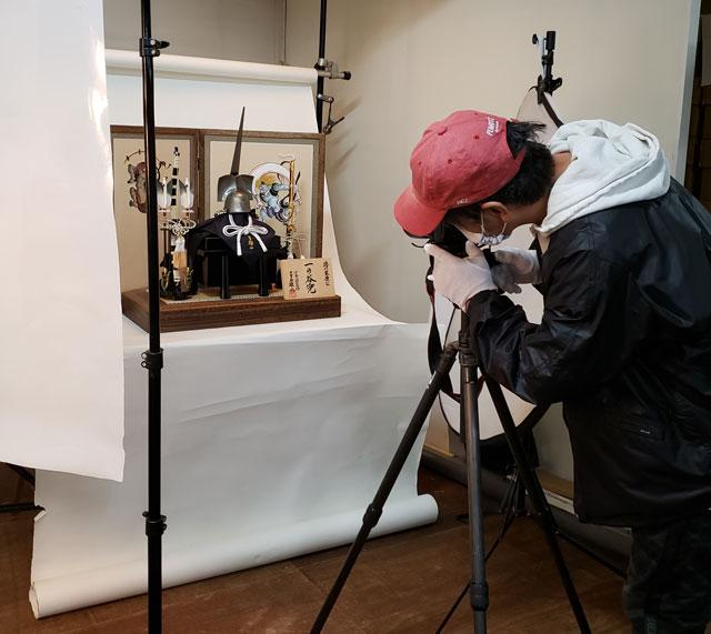 五月人形カタログ写真撮影 徳川家康公 三分の一 一の谷兜焼桐平台飾り
