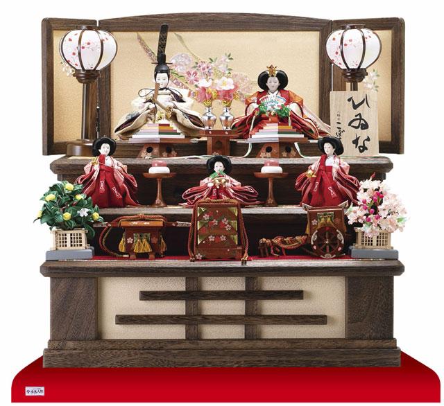 収納飾り・京十二番親王小柳官女付焼桐三段収納飾り No2996
