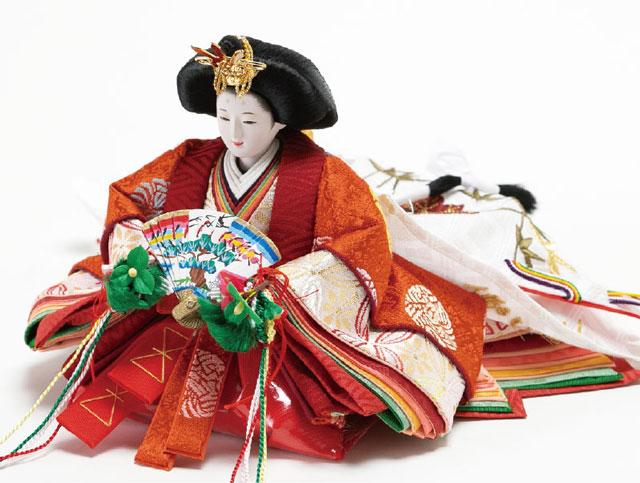 収納飾り・京十二番親王小柳官女付焼桐三段収納飾り No2996 女雛のお顔と衣装