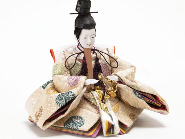 収納飾り・京十二番親王小柳官女付焼桐三段収納飾り No2996 男雛のお顔と衣装
